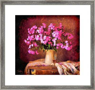 Pink In A Pitcher Framed Print by Marion Daly