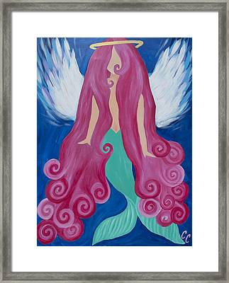 Pink Mermaid Angel Framed Print by Chelsea Crumbliss
