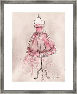 Pink Party Dress Framed Print by Lauren Maurer
