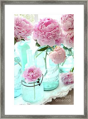 Pink Peonies In Blue Aqua Mason Ball Jars - Romantic Shabby Chic Cottage Peonies Flower Nature Decor Framed Print by Kathy Fornal