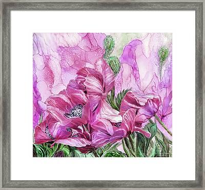 Pink Poppies Of Summer Framed Print by Carol Cavalaris