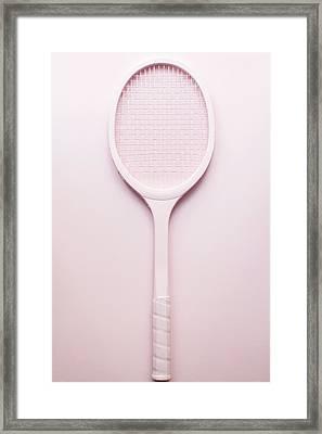 Pink Racket Tennis. Vintage Sport Framed Print by Andrey A