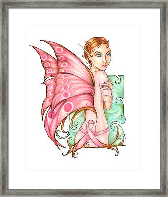 Pink Ribbon Fairy For Breast Cancer Awareness Framed Print by Kristin Aquariann