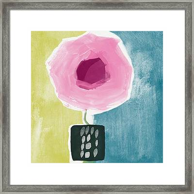Pink Rose In A Small Vase- Art By Linda Woods Framed Print by Linda Woods
