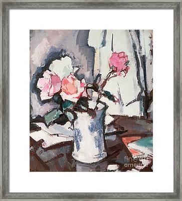 Pink Roses Framed Print by Samuel John Peploe