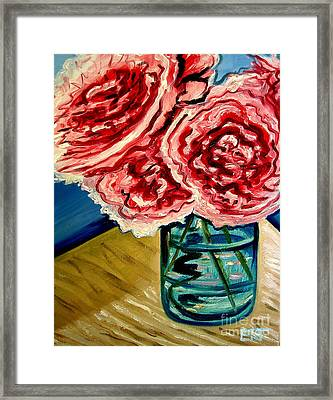 Pink Ruffled Peonies Framed Print by Elizabeth Robinette Tyndall