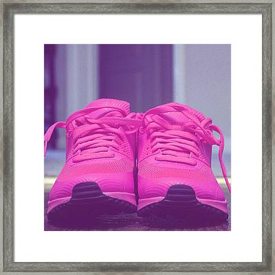 Pink Sneakers Framed Print by Cortney Herron