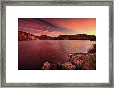 Pink Sunrise On The Lake  Framed Print by Saija Lehtonen