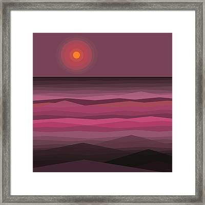 Pink Sunset - Abstract Seascape Framed Print by Val Arie