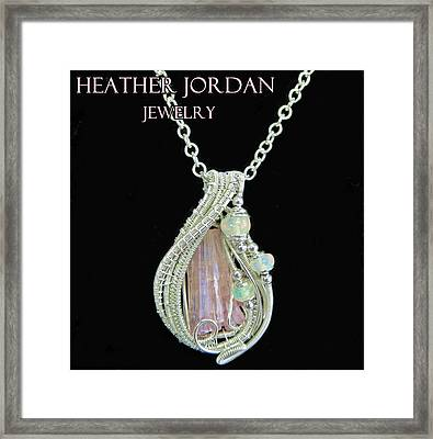 Pink Tourmaline And Sterling Silver Wire-wrapped Pendant With Ethiopian Welo Opals Ptrmpss1 Framed Print by Heather Jordan