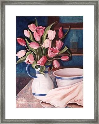 Pink Tulips Framed Print by Renate Nadi Wesley