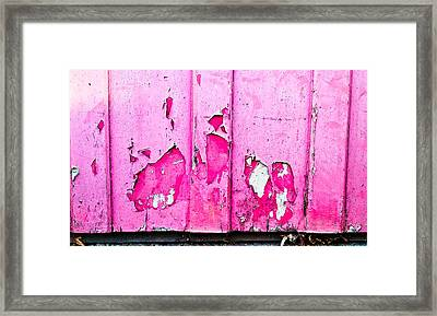 Pink Wood With Peeling Paint  Framed Print by Tom Gowanlock