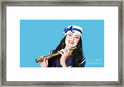 Pinup Sailor Girl Holding Telescope Framed Print by Jorgo Photography - Wall Art Gallery