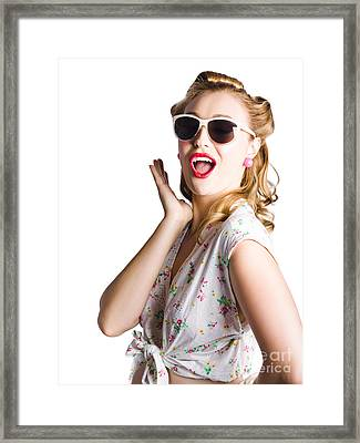 Pinup Shouting Out Loud Framed Print by Jorgo Photography - Wall Art Gallery