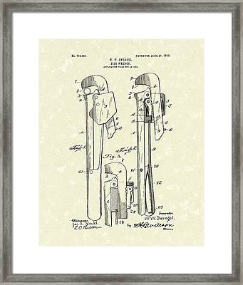 Pipe Wrench 1905 Patent Art Framed Print by Prior Art Design