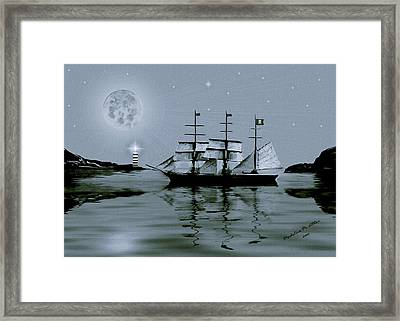 Pirate Cove By Night Framed Print by Madeline  Allen - SmudgeArt