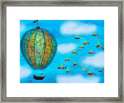 Pirate Hot Air Balloon And Flying Fish Framed Print by Sukilopi Art