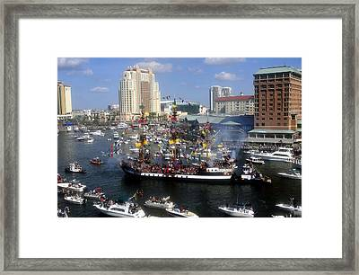 Pirate Invasion Tampa Bay  Framed Print by David Lee Thompson