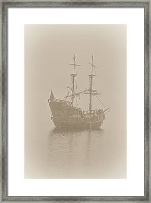 Pirate Ship In Sepia Framed Print by Joy McAdams