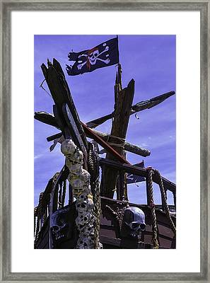 Pirate Ship With Black Flag Framed Print by Garry Gay