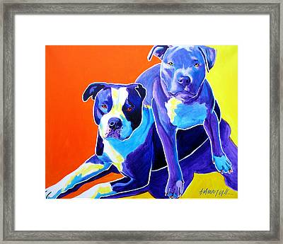 Pit Bulls - Diamond And Deisel Framed Print by Alicia VanNoy Call