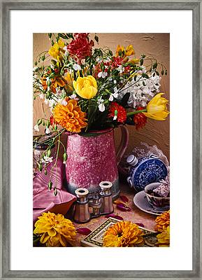 Pitcher Of Flowers Still Life Framed Print by Garry Gay