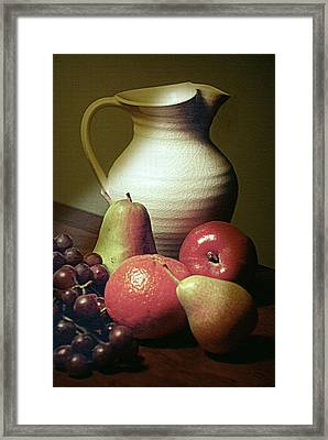 Pitcher With Fruit Framed Print by Diana Angstadt