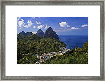 Pitons St Lucia Framed Print by Chester Williams