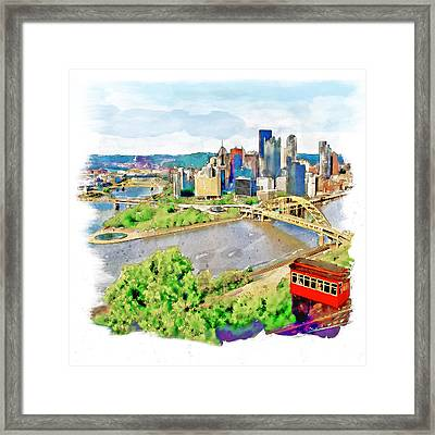 Pittsburgh Aerial View Framed Print by Marian Voicu