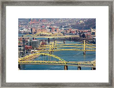 Pittsburgh Bridges Along The Allegheny River Framed Print by Amy Cicconi
