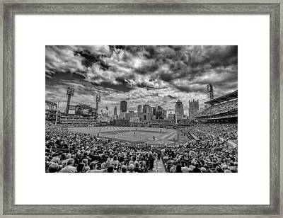 Pittsburgh Pirates Pnc Park Black And White Framed Print by David Haskett