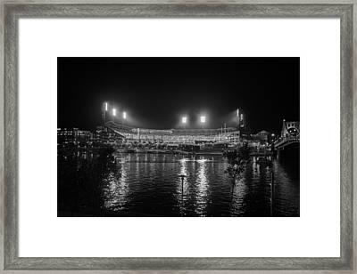Pittsburgh Pirates Pnc Park Night Bw Framed Print by David Haskett