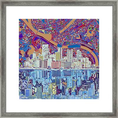 Pittsburgh Skyline Abstract 6 Framed Print by Bekim Art