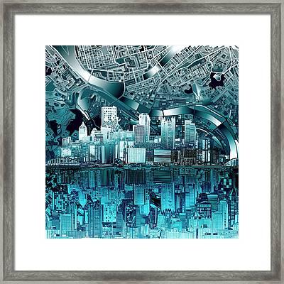 Pittsburgh Skyline Abstract Blue Framed Print by Bekim Art