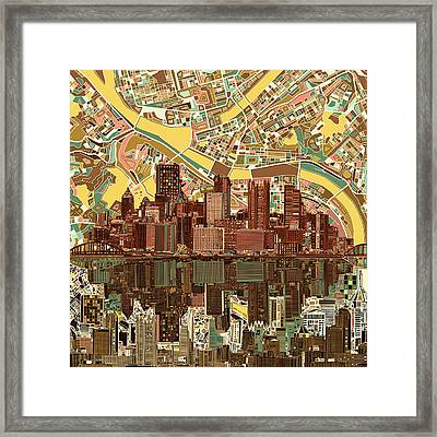 Pittsburgh Skyline Abstract  Framed Print by Bekim Art