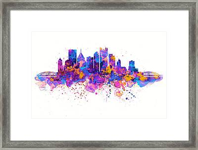 Pittsburgh Skyline Framed Print by Marian Voicu
