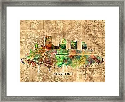 Pittsburgh Skyline Vintage 2 Framed Print by Bekim Art
