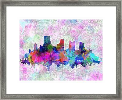 Pittsburgh Skyline Watercolor Framed Print by Bekim Art