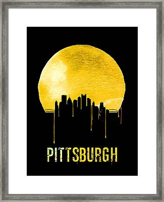Pittsburgh Skyline Yellow Framed Print by Naxart Studio