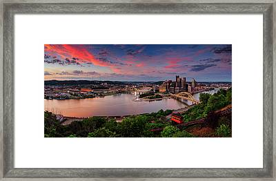 Pittsburgh Sunset Panorama  Framed Print by Emmanuel Panagiotakis