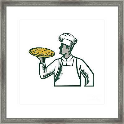 Pizza Chef Holding Pizza Woodcut Framed Print by Aloysius Patrimonio