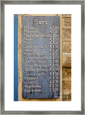 Pizza Menu Florence Italy Framed Print by Edward Fielding