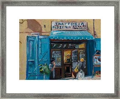 Pizzaria - Cortona Framed Print by Jane Woodward