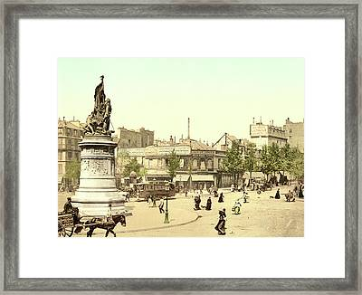 Place Clichy In Paris Framed Print by French School