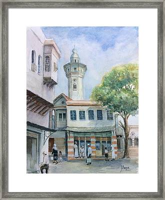 The Neighborhood  In Old Damascus Framed Print by Laila Awad Jamaleldin