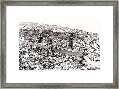 Placer Gold Mining C. 1889 Framed Print by Daniel Hagerman