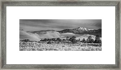 Plains - Dunes And Rocky Mountains Panorama Black White Framed Print by James BO  Insogna