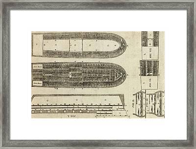Plan Of Brooks Slave Ship Framed Print by American School