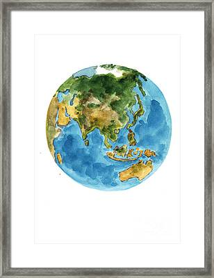 Planet Earth Watercolor Art Print Painting Framed Print by Joanna Szmerdt