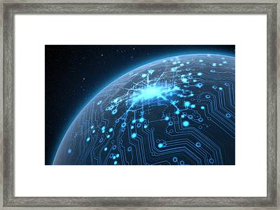 Planet With Illuminated Network Framed Print by Allan Swart